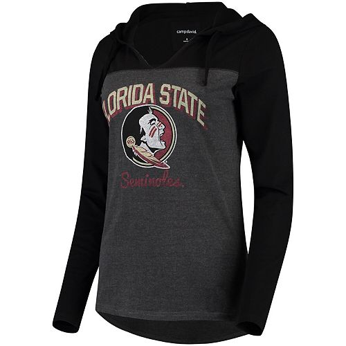 Women's Charcoal Florida State Seminoles Knockout Colorblock Hooded Long Sleeve T-Shirt