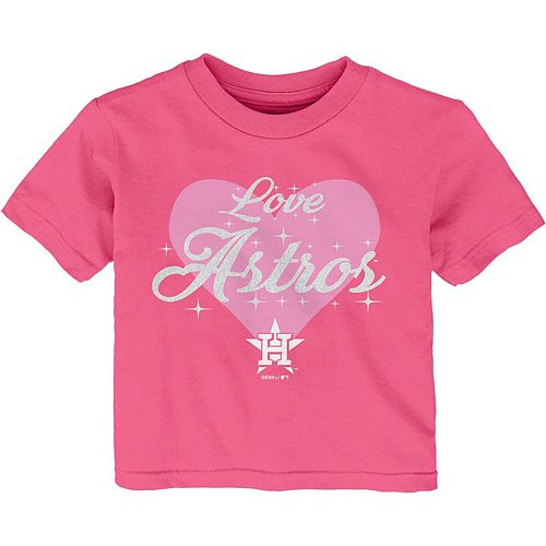 Girls Infant Pink Houston Astros Heart Stars T-Shirt