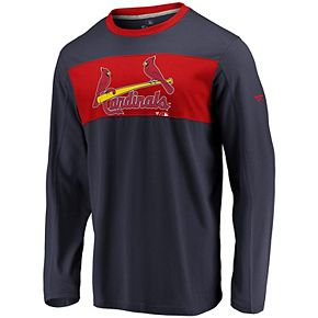Men's Fanatics Branded Navy/Red St. Louis Cardinals Iconic Long Sleeve T-Shirt