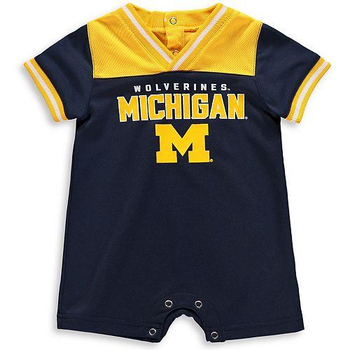 Newborn & Infant Navy/Maize Michigan Wolverines Game Day Romper