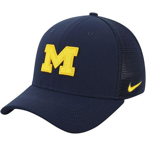 Men's Nike Navy Michigan Wolverines Aerobill Meshback Swoosh Flex Hat