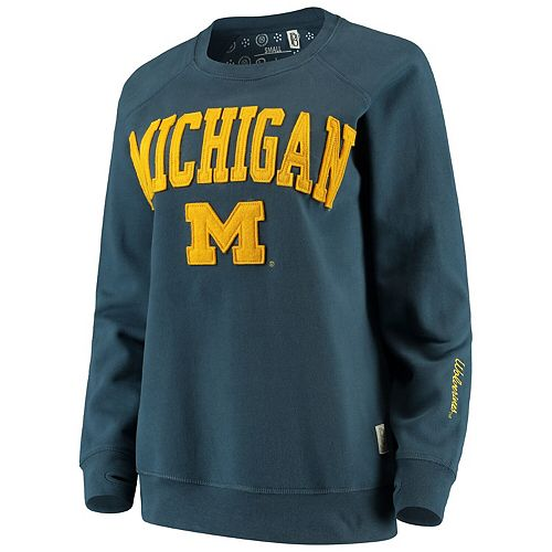 Women's Pressbox Navy Michigan Wolverines Sierra Retro Fleece Applique Sweatshirt
