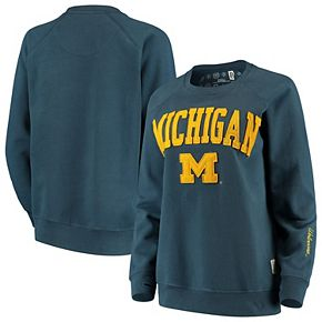 Women's Pressbox Navy Michigan Wolverines Sierra Retro Fleece Applique Sweatshirt