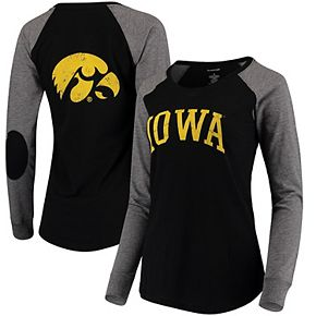 Women's Black/Gray Iowa Hawkeyes Preppy Elbow Patch 2-Hit Arch and Logo Long Sleeve T-Shirt
