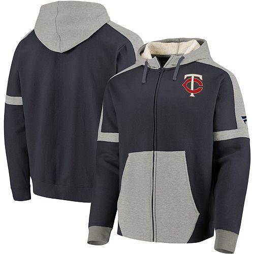 Men's Fanatics Branded Navy/Gray Minnesota Twins Iconic Bold Full-Zip Hoodie