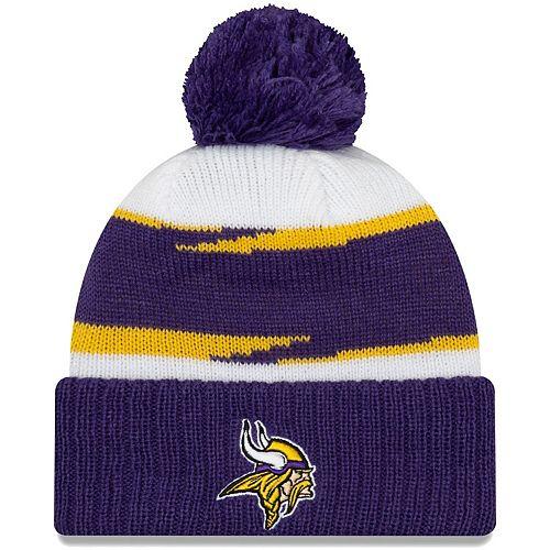 Men's New Era White/Purple Minnesota Vikings Thanksgiving Cuffed Pom Knit Hat