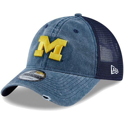 Men's New Era Navy Michigan Wolverines Tonal Washed Trucker 2 9TWENTY Snapback Hat