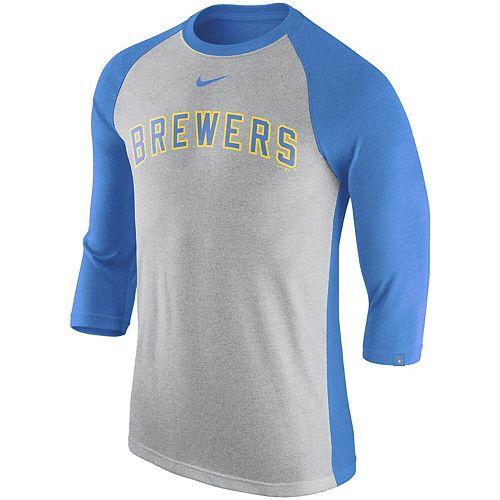 Men's Nike Gray/Royal Milwaukee Brewers Wordmark Tri-Blend Raglan 3/4-Sleeve T-Shirt