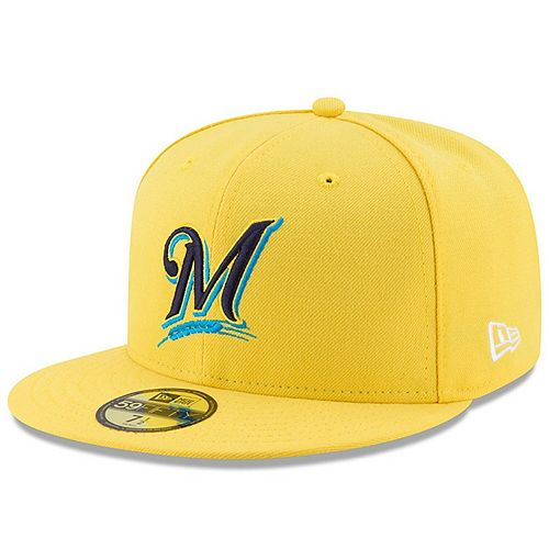 Youth New Era Yellow Milwaukee Brewers 2017 Players Weekend 59FIFTY Fitted Hat