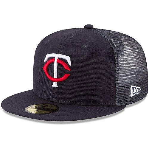 Men's New Era Navy Minnesota Twins On-Field Replica Mesh Back 59FIFTY Fitted Hat