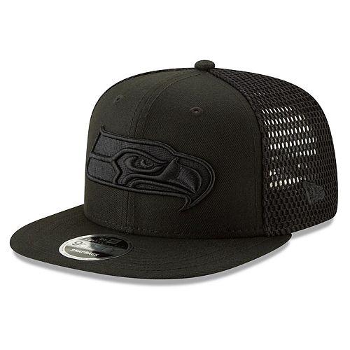 Men's New Era Black Seattle Seahawks Mesh Fresh Tonal 9FIFTY Adjustable Snapback Hat