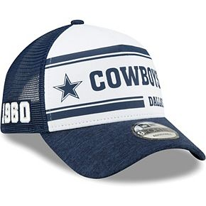 Youth New Era White/Navy Dallas Cowboys 2019 NFL Sideline Home A-Frame 9FORTY 1970s Adjustable Hat