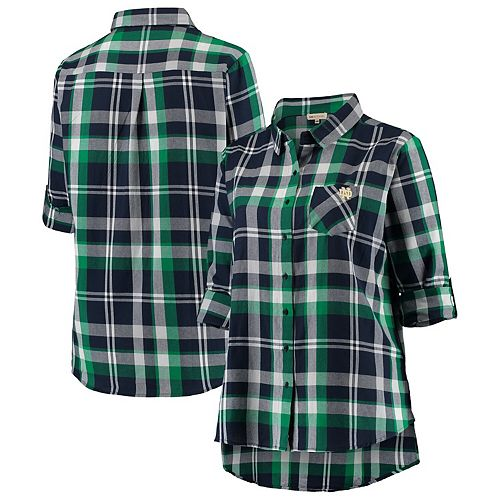Women's Navy Notre Dame Fighting Irish Plus Size Missy Boyfriend Plaid Flannel Button-Up Long Sleeve Shirt