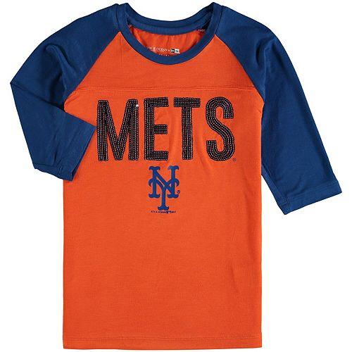 Girls Youth New Era Orange/Royal New York Mets Crew Neck Raglan 3/4-Sleeve T-Shirt