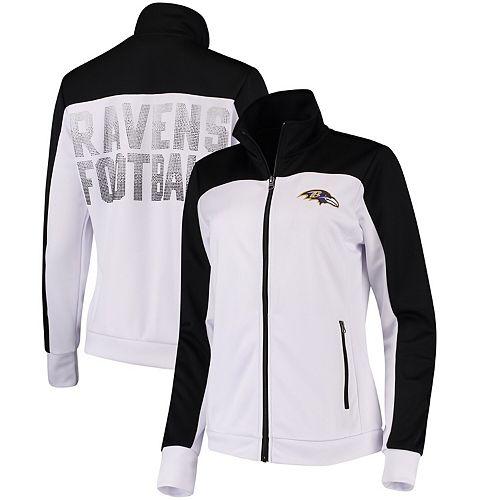 Women's G-III 4Her by Carl Banks White/Black Baltimore Ravens Playmaker Full-Zip Track Jacket