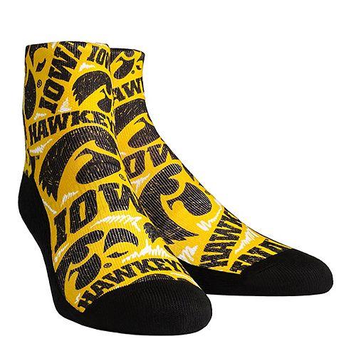 Women's Iowa Hawkeyes Logo Sketch Quarter Socks