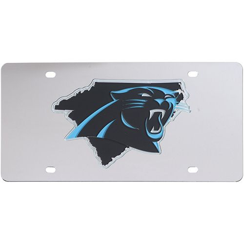 Carolina Panthers Acrylic State Shape Silver Mirror License Plate