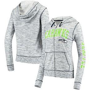 Women's 5th & Ocean by New Era College Navy Seattle Seahawks Athletic Space Dye Full-Zip Hoodie