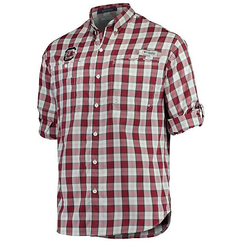 Men's Columbia Garnet South Carolina Gamecocks Plaid Omni-Shade Collegiate Super Tamiami Button-Down Long Sleeve Shirt