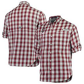 Men's Columbia Garnet South Carolina Gamecocks Plaid Omni-Shade Collegiate Super Tamiami Button-Down Long Sleeve Shirt
