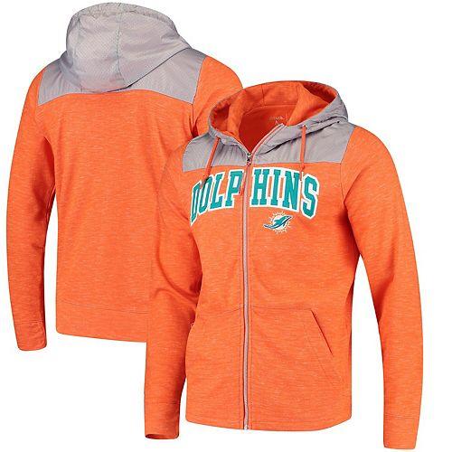 Men's Antigua Orange/Silver Miami Dolphins Exertion Full-Zip Hoodie