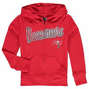 Girls Youth 5th & Ocean by New Era Red Tampa Bay Buccaneers Brushed Knit Tri-Blend Full-Zip Hoodie