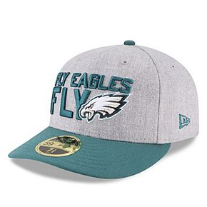 Men's New Era Heather Gray/Green Philadelphia Eagles 2018 NFL Draft Official On-Stage Low Profile 59FIFTY Fitted Hat