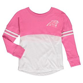 Girls Youth 5th & Ocean by New Era White/Pink Carolina Panthers Varsity Crew Long Sleeve T-Shirt