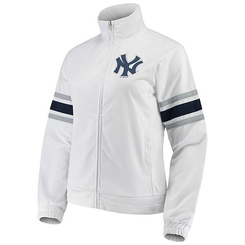 Women's G-III 4Her by Carl Banks White New York Yankees Game Score Full-Zip Track Jacket