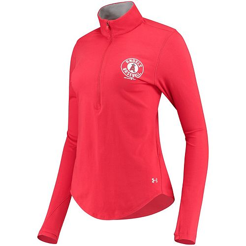 Women's Under Armour Red Los Angeles Angels Charged Cotton Half-Zip Pullover Jacket