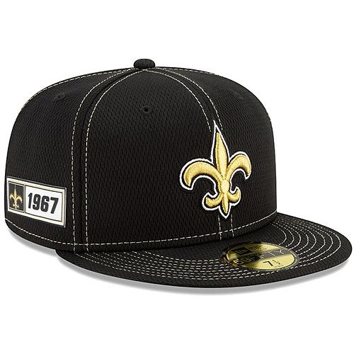 Men's New Era Black New Orleans Saints 2019 NFL Sideline Road Official 59FIFTY Fitted Hat
