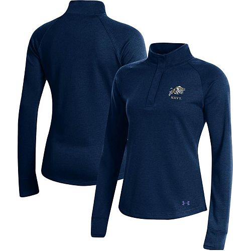 Women's Under Armour Navy Navy Midshipmen Double-Knit Jersey Quarter-Snap Pullover Jacket