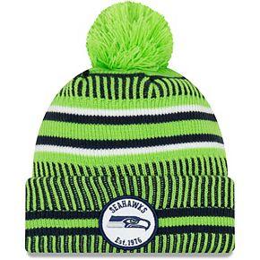 Men's New Era Neon Green/Navy Seattle Seahawks 2019 NFL Sideline Home Reverse Sport Knit Hat