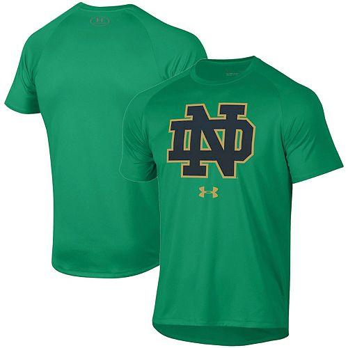 Men's Under Armour Kelly Green Notre Dame Fighting Irish School Logo Tech 2.0 Performance Raglan T-Shirt