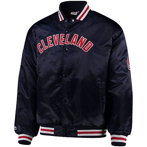 Men's Majestic Navy Cleveland Indians Big & Tall Satin Full-Button Jacket