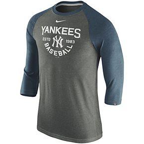 Men's Nike Heathered Charcoal New York Yankees Tri-Blend 3/4-Sleeve Raglan T-Shirt