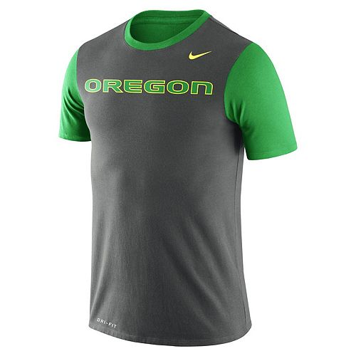 Men's Nike Charcoal Oregon Ducks Wordmark Championship Drive Performance Tri-Blend T-Shirt