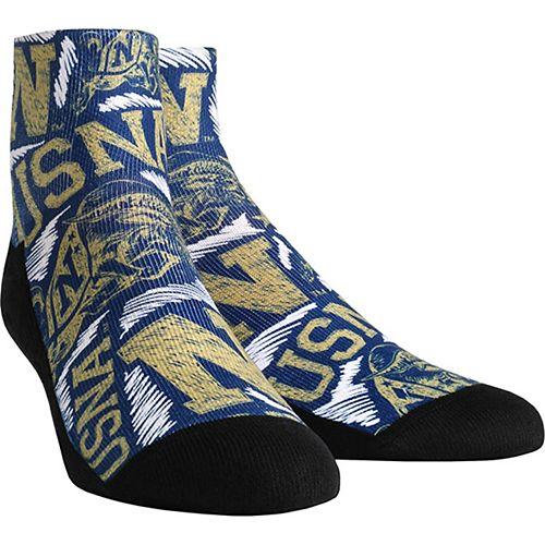 Men's Navy Midshipmen Logo Sketch Quarter-Length Socks