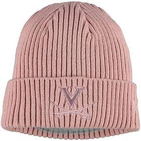 Women's New Era Pink Virginia Cavaliers Team Glisten Cuffed Knit Hat