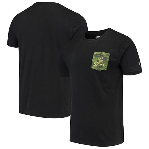 Atlanta Braves New Era Armed Special Forces Camo Pocket T-Shirt - Black