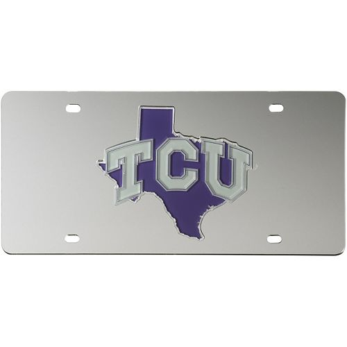 TCU Horned Frogs Acrylic State Shape Silver Mirror License Plate