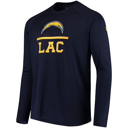 Men's Under Armour Navy Los Angeles Chargers Combine Authentic Lockup Tech Long Sleeve T-Shirt