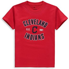 Youth Soft as a Grape Red Cleveland Indians Cotton Crew Neck T-Shirt