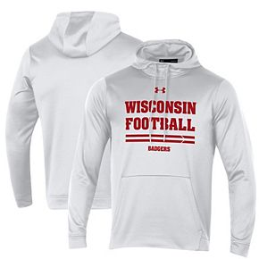 Men's Under Armour White Wisconsin Badgers Sideline Fleece Pullover Hoodie