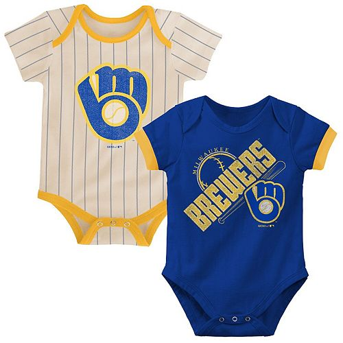Newborn & Infant Royal/Tan Milwaukee Brewers Cooperstown Collection Groovy Game Two-Pack Bodysuit Set