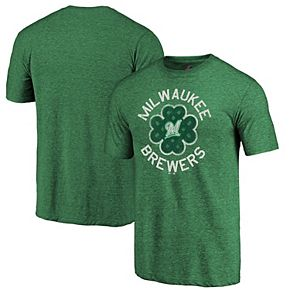 Men's Majestic Green Milwaukee Brewers 2019 St. Patrick's Day Luck Tradition Tri-Blend T-Shirt