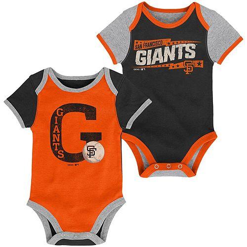 Infant Black/Orange San Francisco Giants Baseball Star Two-Pack Bodysuit Set