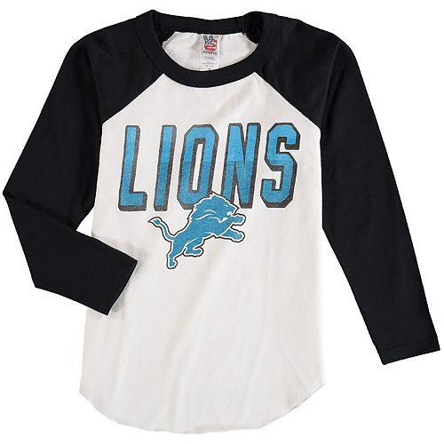 Youth Junk Food White Detroit Lions Raglan Long Sleeve T-Shirt
