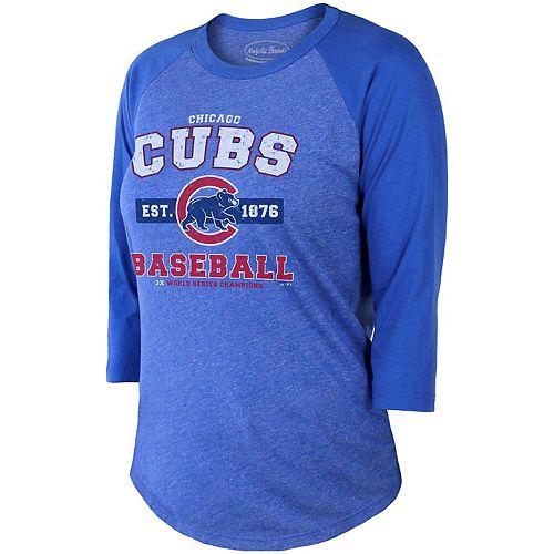 Women's Majestic Threads Royal Chicago Cubs Tri-Blend 3/4-Sleeve Raglan T-Shirt