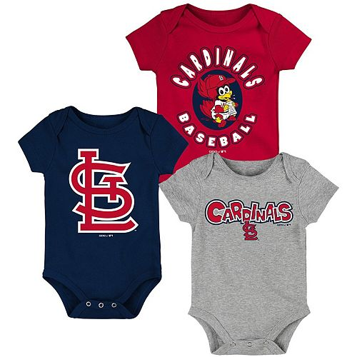 Newborn & Infant Red/Navy/Heathered Gray St. Louis Cardinals Everyday Fan Three-Pack Bodysuit Set